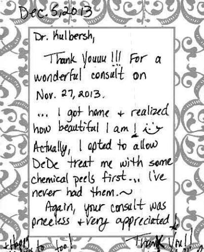 thank you facial plastic surgeon charlotte Testimonials